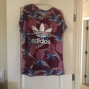 Adidas floral top with mesh back NWT